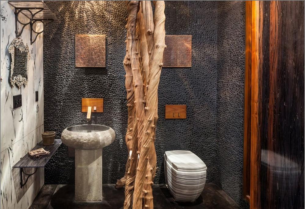 Перегородка в туалете из лиан
