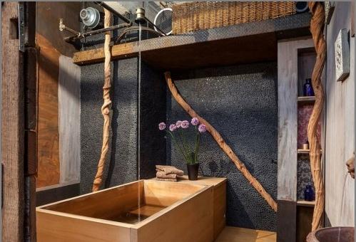 Деревянная прямоугольная ванна