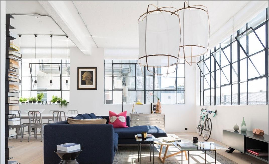 Loft blanc dans l'appartement
