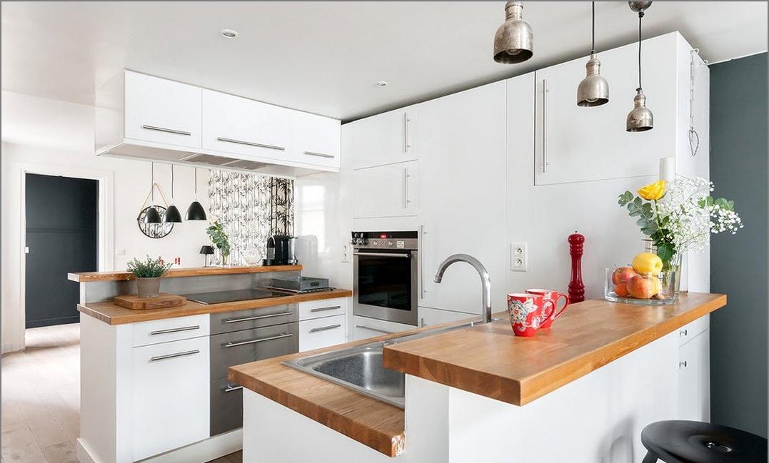 Nowoczesna kuchnia Dwupoziomowa kawalerka w stylu loftu