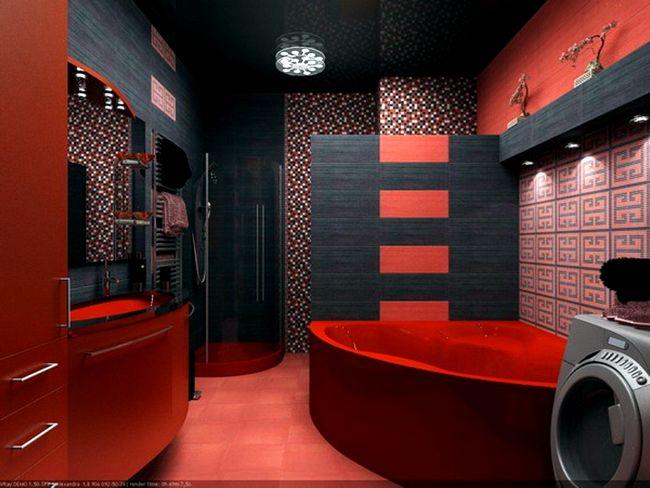 модерен съвременен санитарен възел-с-тъмно-червена