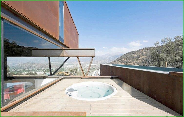 метална къща фото басейн