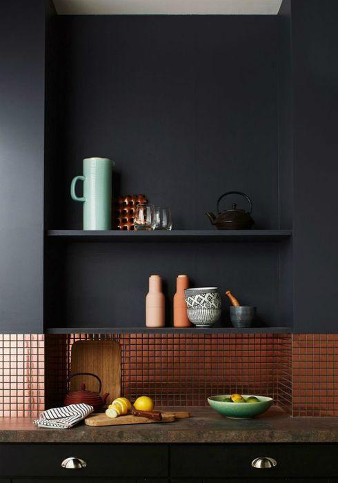 Carreaux de cuivre dans la cuisine