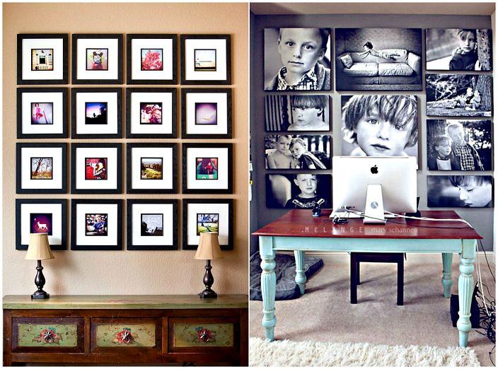 Семейни снимки по стените.