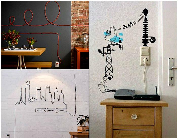 Стенен декор с проводници.