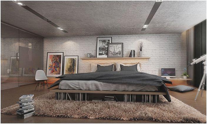 Контрастът на текстурите в тази спалня е това, което наистина вдъхновява.