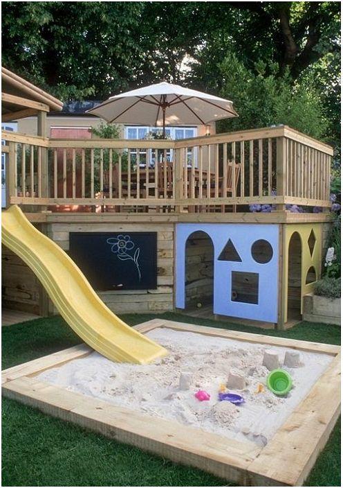 Изключителна трансформация на верандата с допълнителна детска площадка за малки деца.