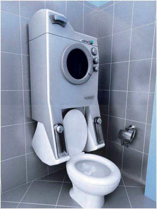 Тесна пералня над тоалетната.