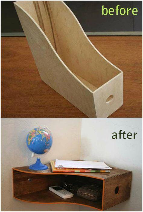 Ъглов рафт, изработен от стойка за списания.
