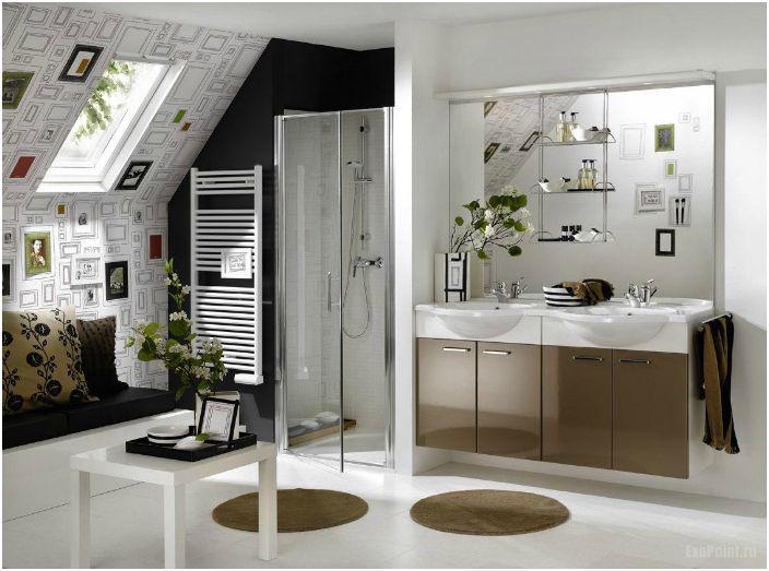 Stylowy wygląd do małej łazienki.
