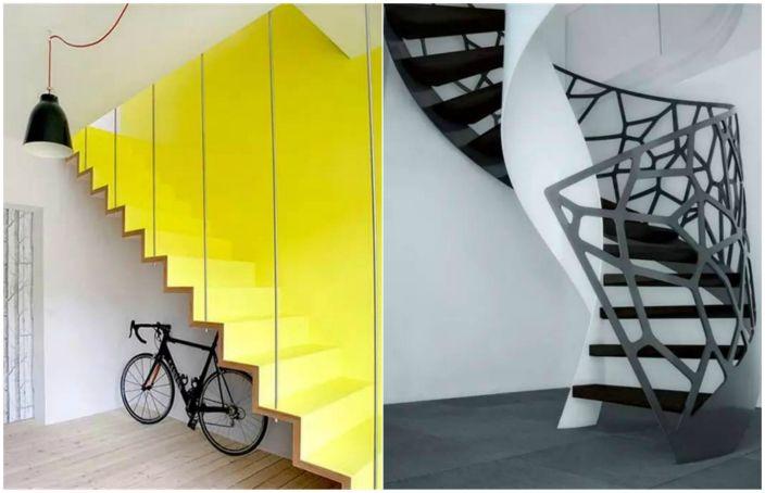 Дизайнерски стълби в интериора.