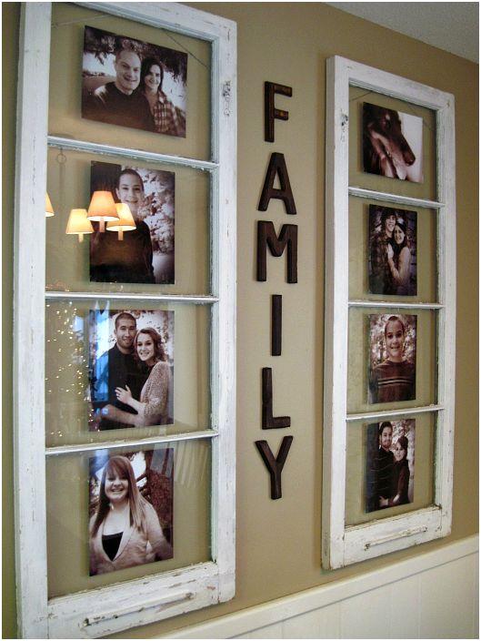 Ramka na zdjęcia ze starego okna.
