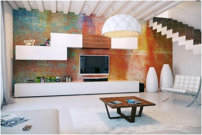 Ciekawy salon z kolorową cegłą to jeden ze sposobów na wyrażenie siebie.