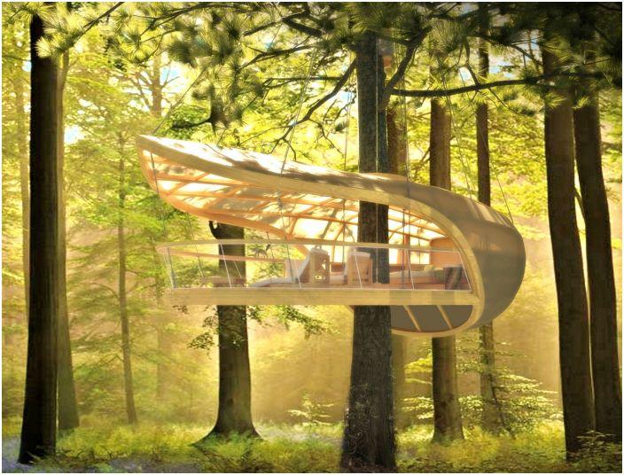 Domek na drzewie w stylu żaglówki, który nie szkodzi drzewu ani nie ogranicza jego wzrostu.