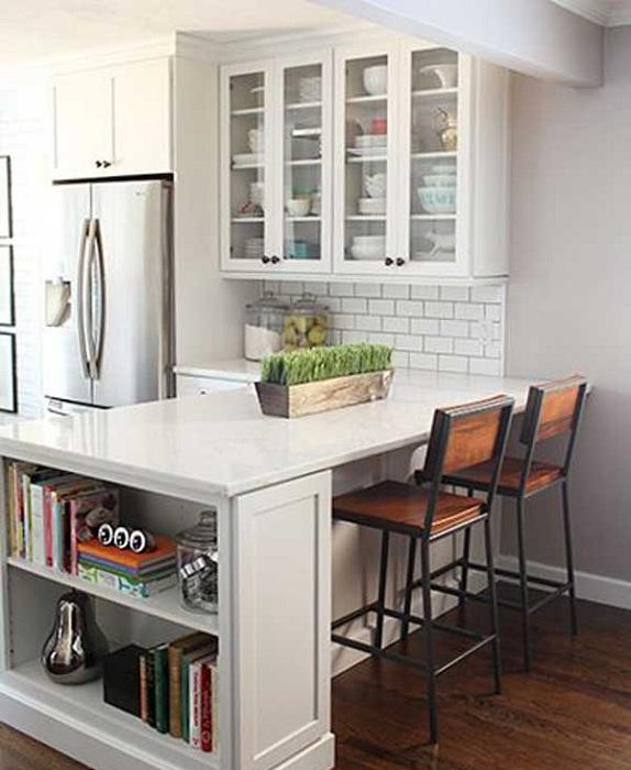 Зоната за готвене в кухнята съвпада добре с зоната за хранене.