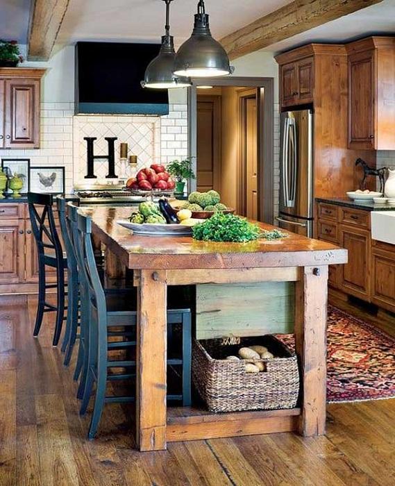 Многофункционална кухненска маса в селски стил, просто и сладко решение за кухня.