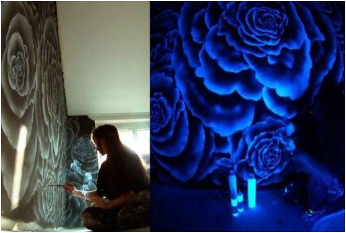 Люминесцентни картини по стените.