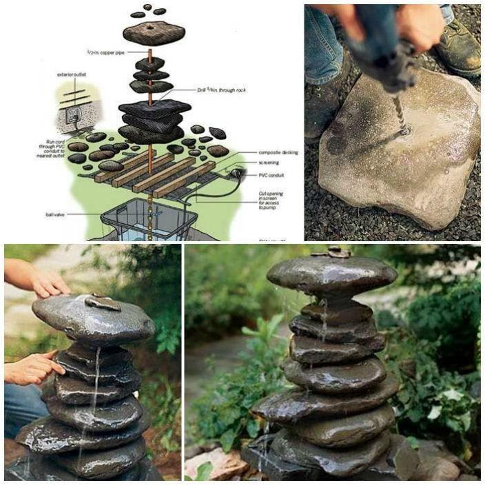 Mała fontanna domowej roboty wykonana ze zwykłych kamieni.