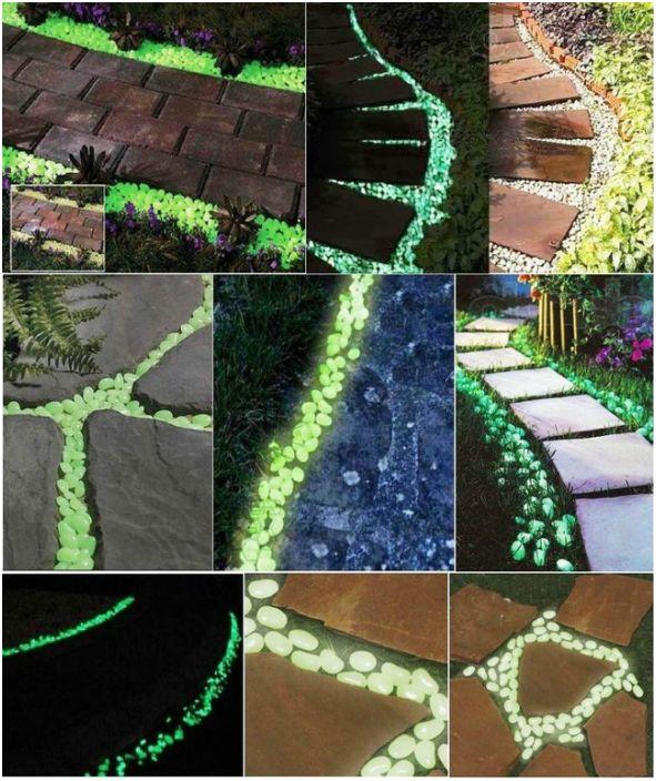 Do dekoracji ścieżek można użyć kamieni pomalowanych specjalną farbą fosforową.