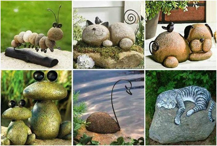 Śliczne kamienne figurki w postaci zwierzątek.