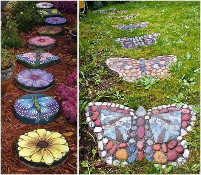 Ścieżki z wielokolorowych kamieni ułożonych w postaci motyli i kwiatów.