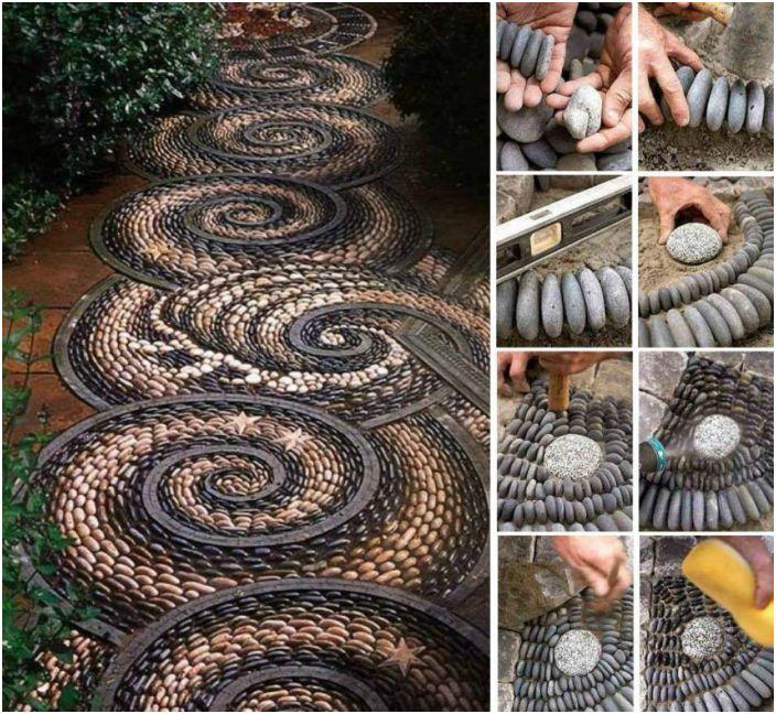 Niesamowita ścieżka z kamieni ułożona w skomplikowanej spiralnej mozaice.