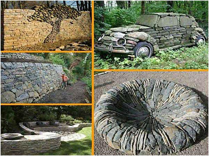 Wspaniałe kamienne figurki samochodów i drzew.