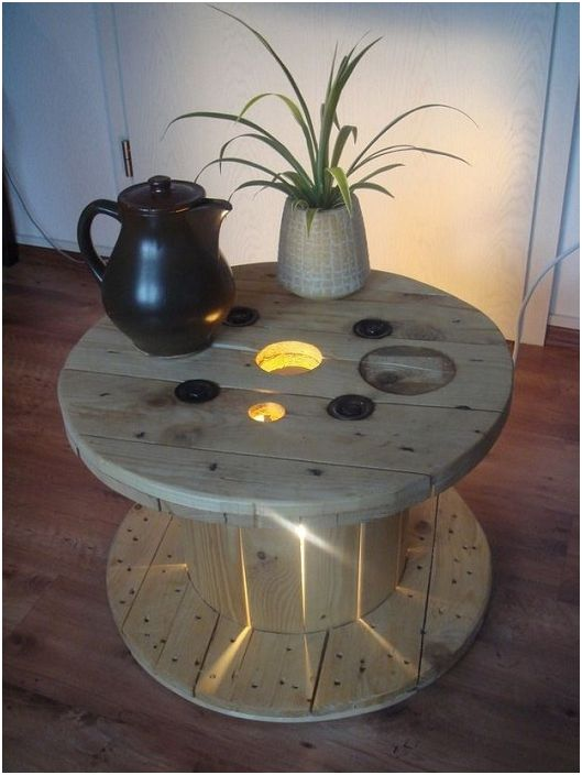 Интересен интериор на стаята е създаден благодарение на осветената маса с бобини.