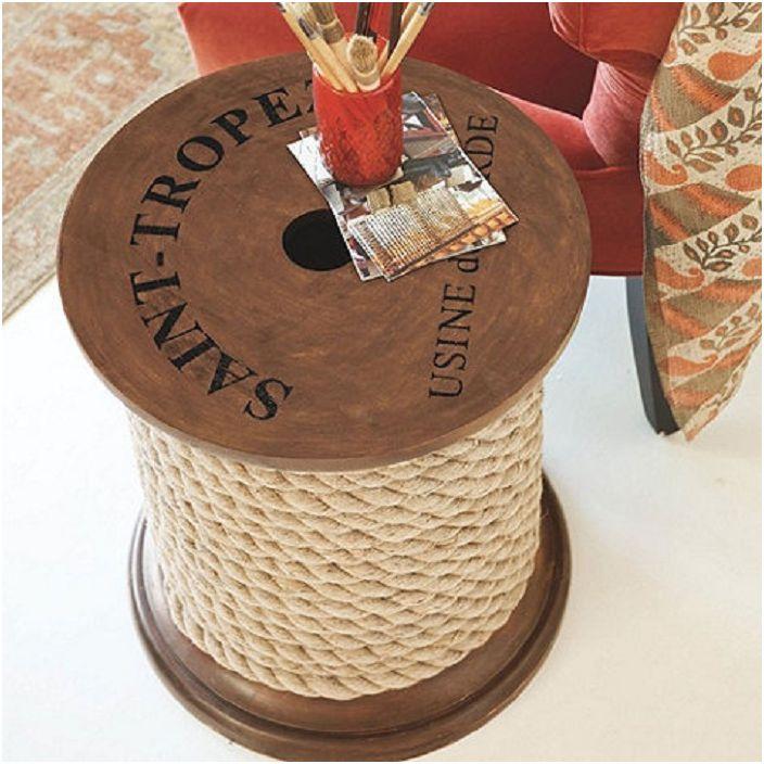 Прекрасный вариант оформления тематического стола-катушки в определенном стиле.