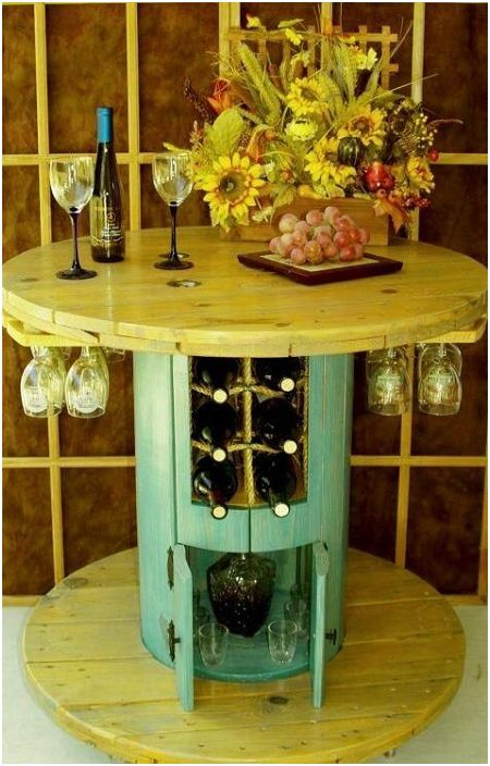 Удачное сочетание винного бара и стола-катушки - два в одном.