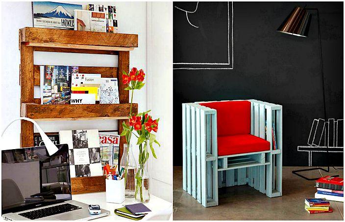 Оригинальная мебель и предметы декора из деревянных поддонов.