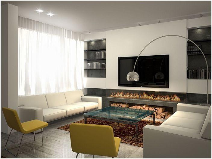 Теплая атмосфера в гостиной создана благодаря необычному камину, который обустроен в виде декора.