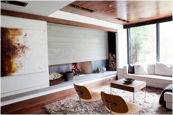 Коричневые оттенки в гостиной просто и гармонично вписываются в общий интерьер.
