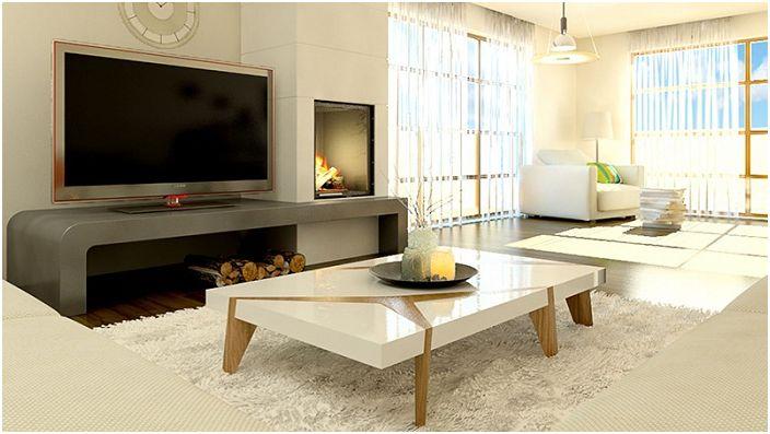 Изящная и красивая гостиная в светлых тонах дополнена местом для хранения дров.