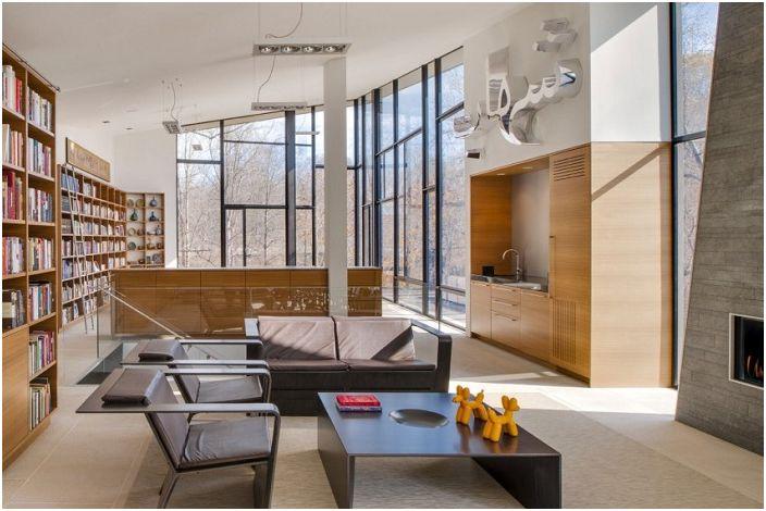 Уютный дизайн гостиной, создает прекрасную атмосферу в комнате.