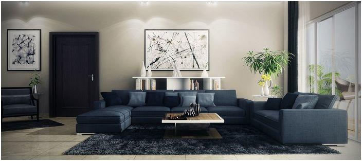 Темные цвета в интерьере гостиной - это одна из возможностей подчеркнуть интересный дизайн комнаты, именно в этой цветовой гамме.