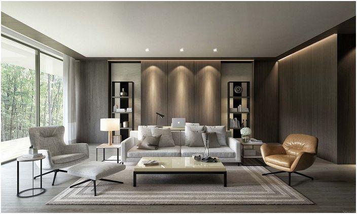 Интересная атмосфера в гостиной создана при помощи скрытой подсветки некоторых элементов интерьера.