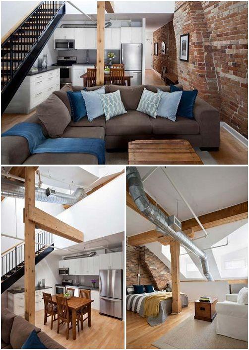 Połączenie cegły i drewnianych belek to doskonałe rozwiązanie do dekoracji wnętrza salonu.