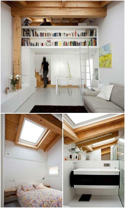 Czasami stosuje się surowe konstrukcje drewniane, aby zapewnić wizualny komfort i efektywne wykorzystanie przestrzeni.
