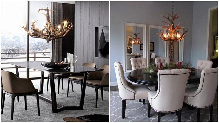 Люстры из оленьих рогов – креативное решение для столовой.