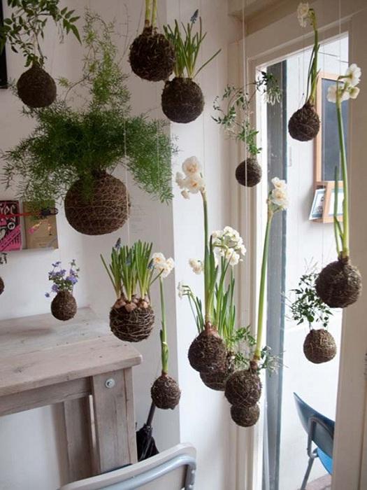 Очень хорошее решение, которое создаст определенно прекрасную атмосферу в доме – это подвесной мини-сад.