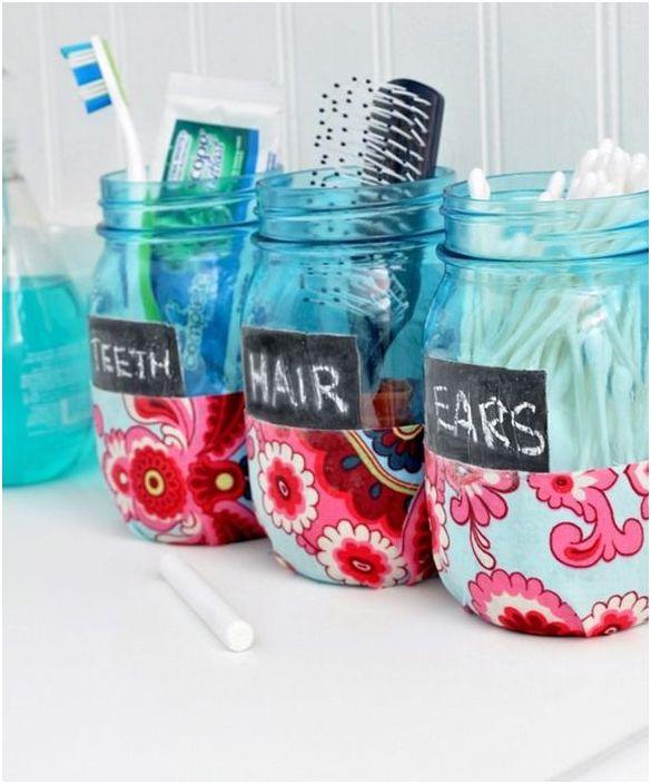 Stilige glasskar for oppbevaring av tannbørster