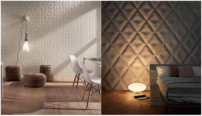Przykłady dekoracji pokoju przy użyciu płytek 3D.