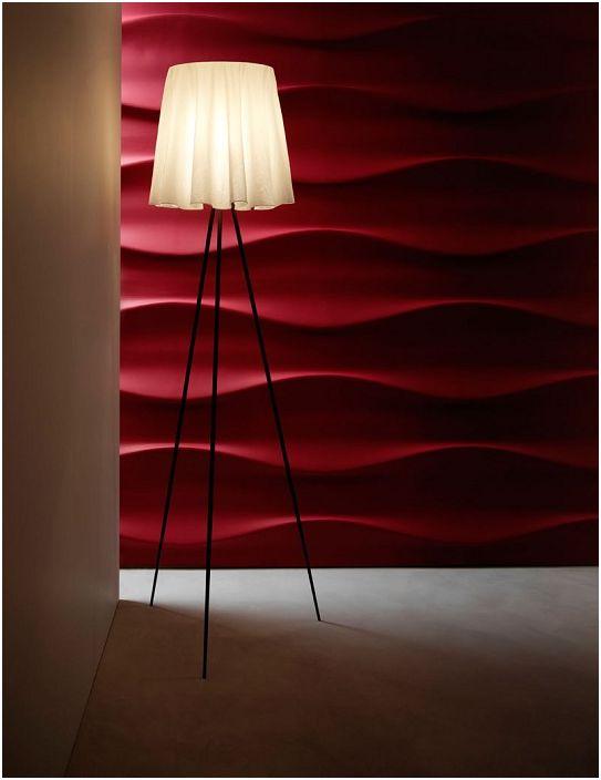 Jasne i urocze wnętrze pokoju z wiśniowymi kafelkami 3D, które są bardzo piękne i praktyczne.