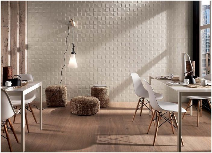 Płytki 3D na ścianie podkreślą indywidualność stylu pomieszczenia.