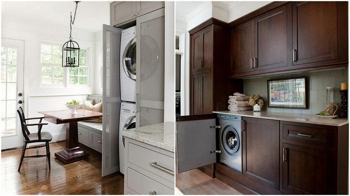 Чудесен вариант за декориране на място за пране, което е скрито от поглед.