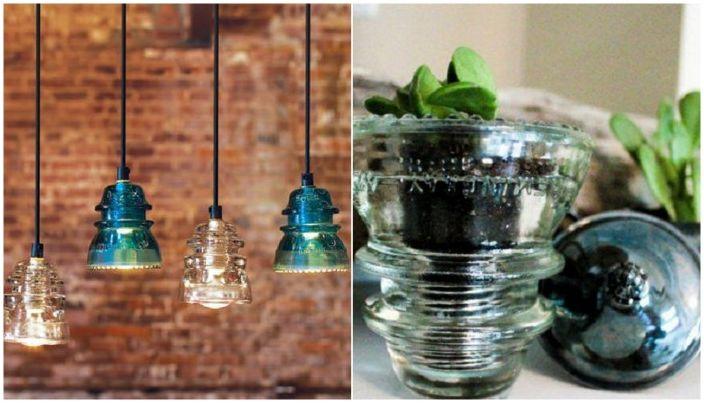 Примери за предмети, които ще украсят интериора на стъклени изолатори.