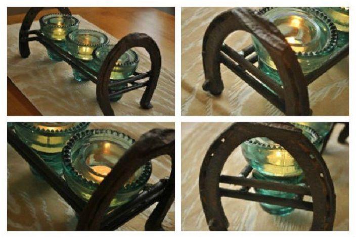 Необичайната комбинация от подкови и електрически стъклени изолатори създаде сладки декоративни елементи.