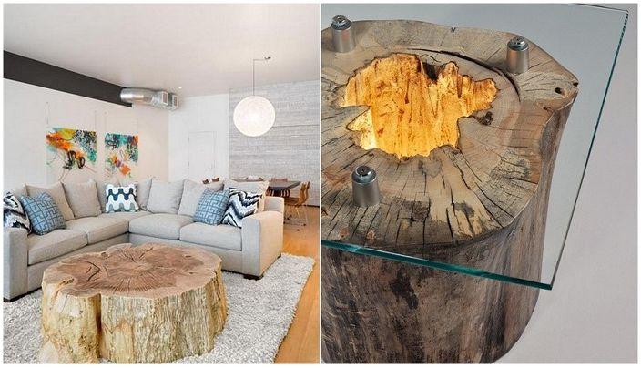 Pomysły na udekorowanie pokoju pniami drzew.