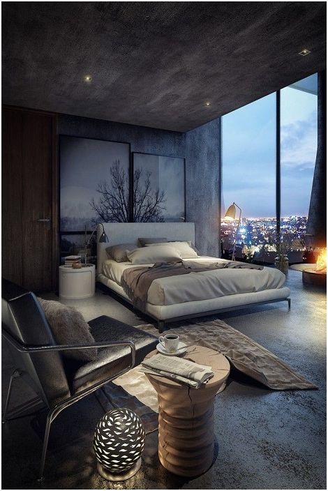 Nowoczesny, piękny, rzeźbiony pień drzewa, który zdobi każdą dekorację sypialni.